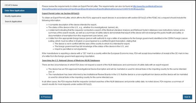 Create an Export Permit Letter Application<