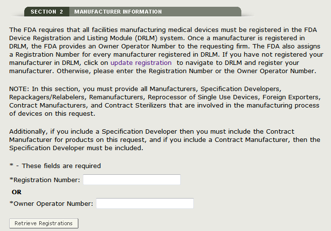 Registration Number or OON for Manufacturer