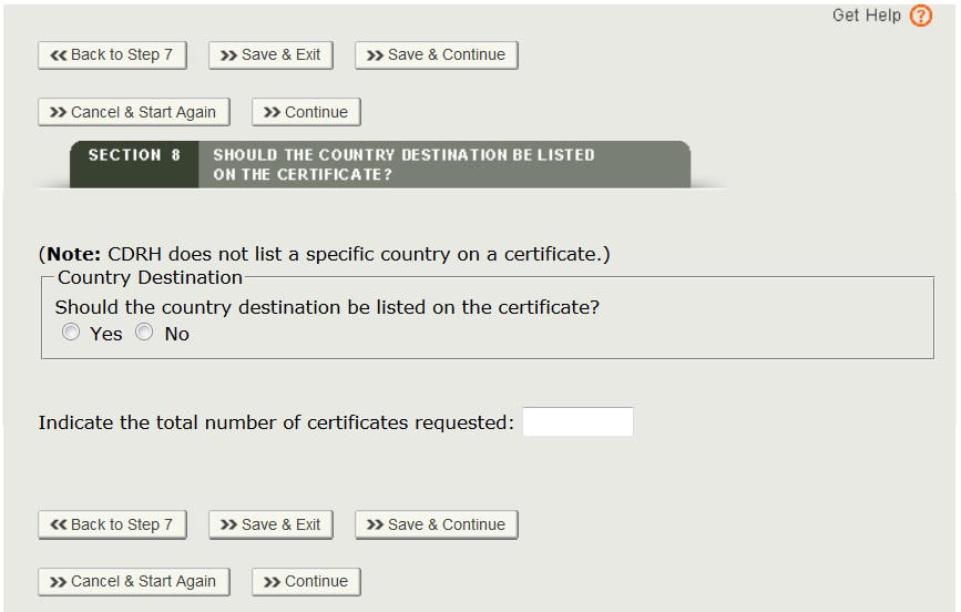 Enter A Certificate To Foreign Government (Cfg) Application Step