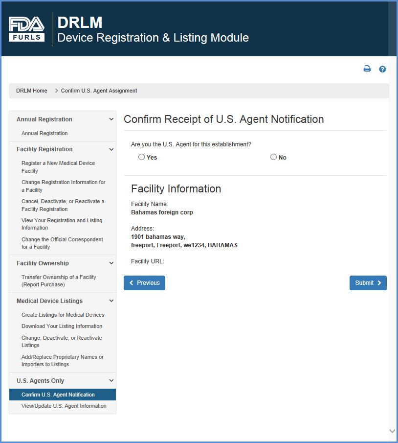 Confirm U S  Agent Notification Receipt